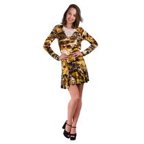 Vestido Banna Hanna Estampado Com Aplicação Em Renda Preto/o
