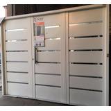 Portón Garaje Exterior Nexo Galvanizado Apliques Acero Inox.