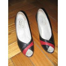 Zapatos Negros Con Banda Colorada Lady. Talle 34 !!