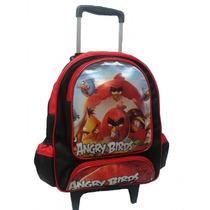 Mochila Escolar Infantil Com Rodinhas Angry Birds