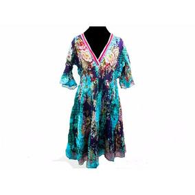 Liquido!! Vestido Largo Fibrana Floreado Ropa Hindu (rh-552)