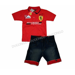 Conjunto Ferrari Polo Infantil C/ Bermuda Jeans Festa
