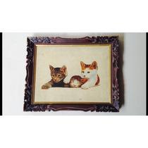 Hermoso Dibujo Antigüo De Tres Gatos Marco Tallado