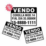 3 Calcos Vendo Auto Vinilo De Corte Sticker Cartel De Venta