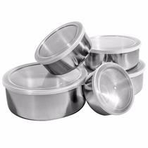 Conjunto De Potes Tigelas Em Inox 5 Peças Com Tampa Plática