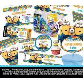 Kit Imprimible Minions Fiesta Infantil Bolo Piñata Niños