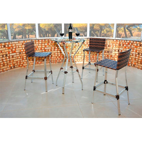 Banquetas, Alumínio, Fibra Sintética, Vime, Kit 4 Unidades