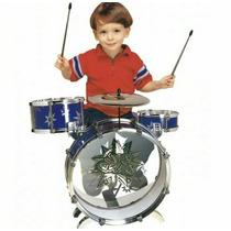 Bateria Musical Infantil Tambor Baquetas Pedal + Banquinho