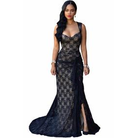 Vestido Largo De Fiesta Con Fino Encaje Negro Y Beige*****