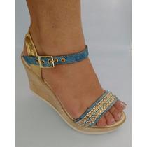 Sandalia Alta Elegante Jeans Azul Dorado Zapato Envió Gratis