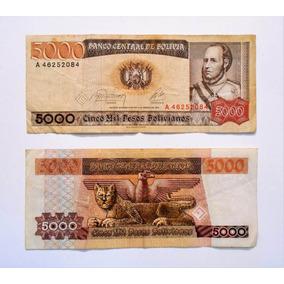 Lote De 2 Billetes 5000 Cinco Mil Pesos Bolivianos Serie A