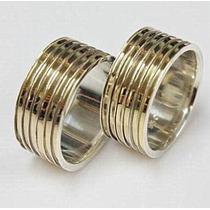 Par Alianças Prata 950 E Ouro 18k 9mm 6 Filetes Modelo Gold