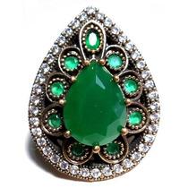 Idj-anel Turquia Turco Prata 925 Jade Zirconias