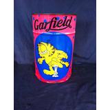 Lata Retro Decorativa Porta Brinquedo Garfield Rosa Azul