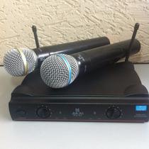 Microfone Duplo Uhf S/fio Profissional C/ Maleta -ku-22-a-10
