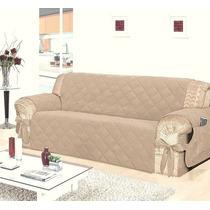 Capa Protetor Sofá Para Sala 3 Lugares - Bege