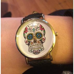 Relógio Pulso Caveira Mexicana Feminino Flores (alça Preta)