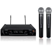 Microfone Sem Fio Duplo De Mao Bivolt Uhf Kadosh Kdsw482m