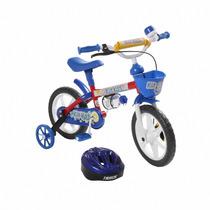 Bicicleta Infantil Kit Kat Track Bike Com Capacete Azul