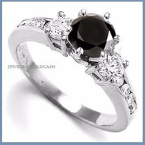 Anillo Con Diamante Natural 1.00ct Negro En Oro 14k -50% 017