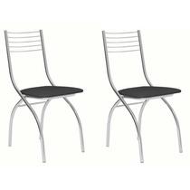 Cadeira Cromada Carraro Móveis Vita 02 Unidades Preto