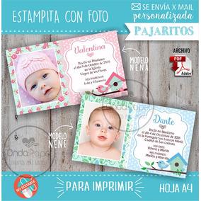 Imprimible Estampita Bautismo Con Foto Pajaritos
