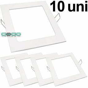 Kit 10 Painel Plafon Led 12w Embutir Quadrado Frio Luminaria