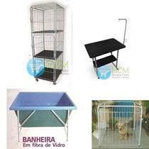 Conjunto Banho E Tosa - Mesa, Canil, Banheira, Cercado