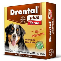 Bayer Vermífugo Drontal Plus Carne 2,718 Mg C/ 2 Comp(35 Kg)