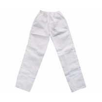 Peça De Uniforme Profissional Calça Em Brim Branca Branco