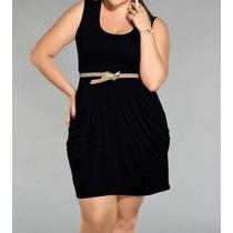 Vestido Social Formal Casual Em Plus Size Drapeado Frontal