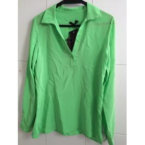 Camisa Feminina Verde-claro Seda Tam P Nova Abrand