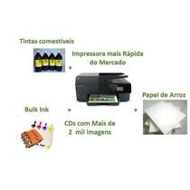 Kit Imp. Multifun. Hp 6830/papel De Arroz + 400 Ml Tintas