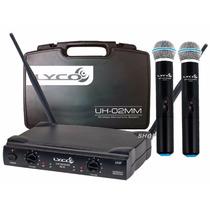 Microfone Sem Fio Duplo De Mão Uhf Lyco Uh02mm Profissional