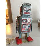 Robot Tipo Vintage A Cuerda 100% Metal Perfecto Estado