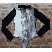 Body Camisa Feminino Preto Estampa De Cavalo - Só Country
