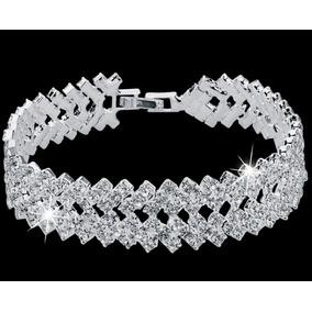 Pulseira Bracelete Feminino Cristal Banhado Ouro Branco 18k