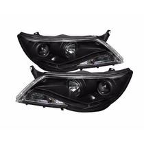 Farol R8 Daylight Leds Volkswagen Tiguan 09 10 11 Black Par