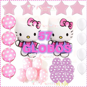 Globo Tipo Hello Kitty, Polka Rosa,fiesta,adorno