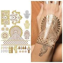 Mano Metálico Joyería Tatuajes Temporales Con Hacer Juego Lo