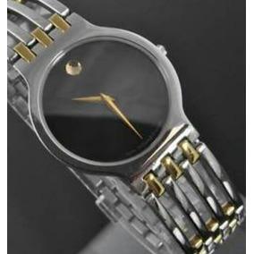Reloj Marca Movado De Dama Color Plata Con Detalles Dorados.