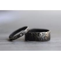 Argollas Matrimonio Plata Negra Envió Pareja Compromiso Amor