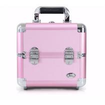 Maleta Frasqueira Alumínio Maquiagem Rosa Profissional Salão