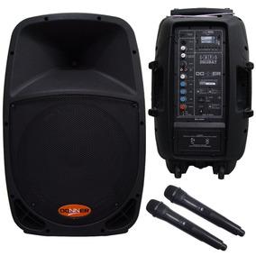 Caixa De Som Ativa Dr12 Bateria Recarregavel + 2 Mic S/fio
