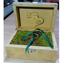 Caixa De Alianças De Madeira Rústica Personalizada