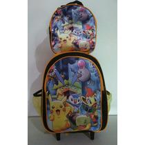 Kit Mochila Rodinhas E Lancheira Pokemon Go Pikachu