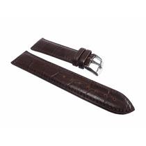 Pulseira Couro Legítimo Tipo Croco Marrom Escuro 18mm [g1]