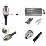 Mini Mandril Aço + Kit 20 Brocas Aço Ráp. 0,3 Á 1, 6 Mm