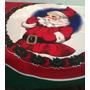 Mantel Redondo De Navidad En Tela - Santa Con Ramas