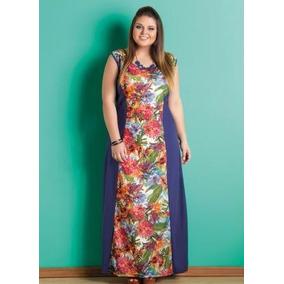 Vestido Longo Floral Recorte Laterais Plus Size